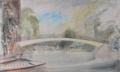 J.D.M. Harvey Garret Hostel Bridge & Trinity Hall College & River Cam Cambridge