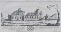 Byland Abbey Yorkshire UK - 1770 engraving by Samuel & Nathaniel Buck