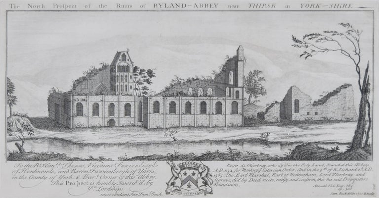 """Samuel & Nathaniel Buck Byland Abbey, Yorkshire Engraving  """"Byland Abbey is an interesting ruin about five miles from Helmsley. It was a fine specimen of ecclesiastical architecture, founded by the monks of Furness, who were driven from their"""
