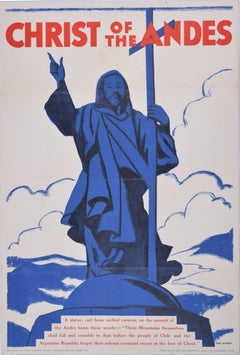 Hal Woolf: Christ of the Andes - vintage poster c. 1930s Argentina Chile border