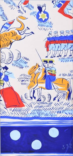 Robert Bonfils Bianchini Ferier 1920 art deco scarf design Bull Fighting: blue