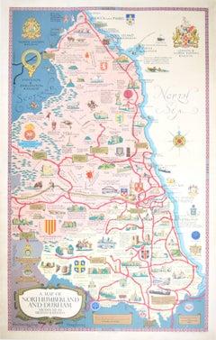 Lance Cottermole Original Poster Map Northumberland & Durham British Railways