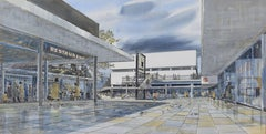 Architectural Perspective Design 1965 mid century modern Shopping Centre British