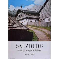 Salzburg Land of Happy Holidays Austria - Original Vintage Skiing Travel poster