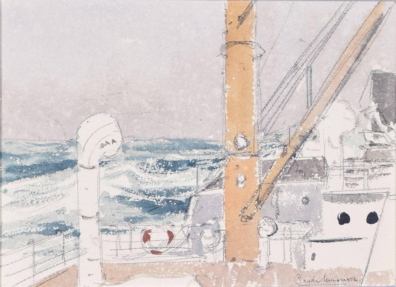 Claude Muncaster: Storm, City of Exeter, Ellerman Line - Biscay 1948 watercolour