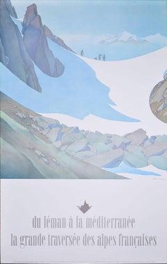 Samivel - Original Ski Poster: Du Leman a la Méditerranée la Grande Traversée