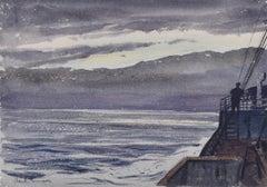 Claude Muncaster: Dusk, City of Exeter, Ellerman Line - Biscay 1948 watercolour