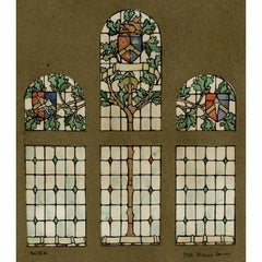 Heraldic Stained Glass Window Design c. 1900 For TW Camm by Florence Camm