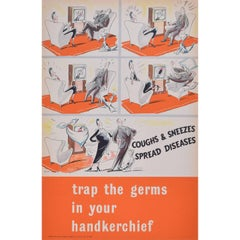 Original WW2 Poster Coughs and Sneezes Spread Diseases UK Propaganda for HMSO