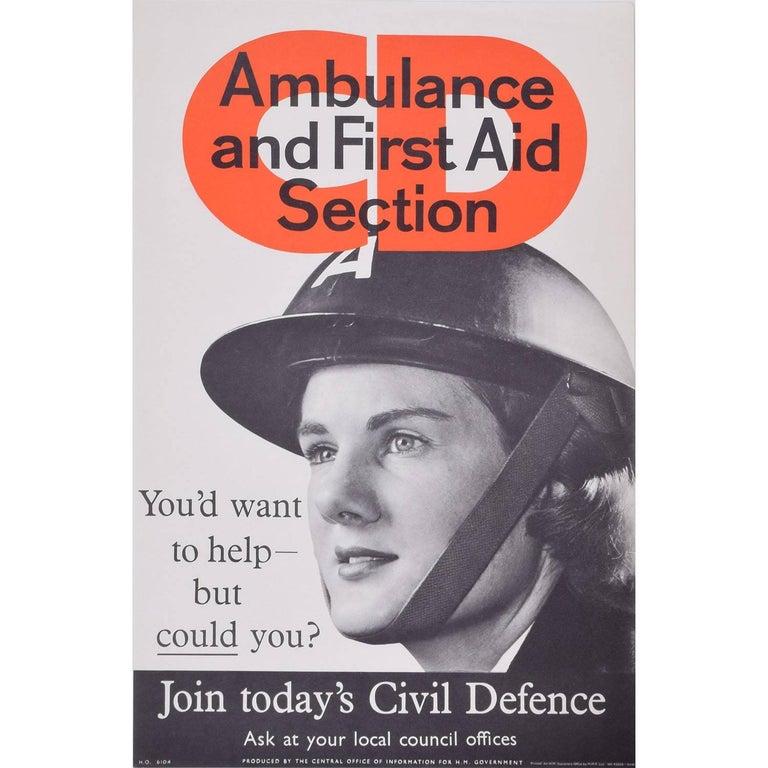 Original WW2 Ambulance First Aid Civil Defence Poster UK Propaganda for HMSO