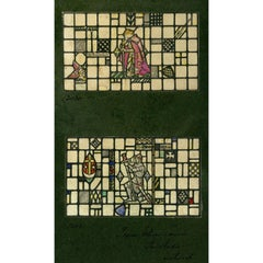 Sir Percivale and a Knight - Arthurian Stained Glass Window Design For TW Camm