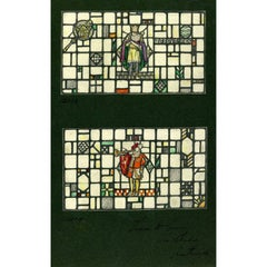 King Arthur and a Herald - Arthurian Stained Glass Window Design For TW Camm