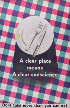 Original WW2 Poster UK Propaganda for HMSO by James Fitton A Clean Plate Means