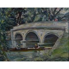 Nancy Huntly Trinity College Bridge Cambridge oil on canvas mid century
