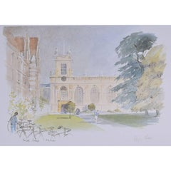 Hugh Casson Trinity College Oxford signed limited edition print c. 1980