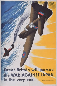 Original WW2 Poster Aeroplane Winston Churchill War Against Japan fighter