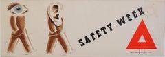 'Zero' Hans Schleger Surreal Original Vintage Poster 'Safety Week' Eyes and Ears