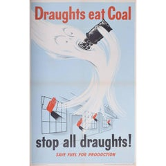 Draughts Eat Coal Original Vintage Poster - WW2 Fuel Efficiency Green Energy Eco