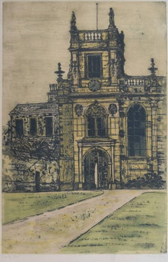 Richard Beer Trinity College Oxford etching c. 1980 signed limited edition print