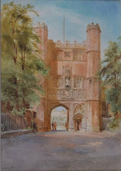 Trinity College Great Gate Cambridge - Richard Henry Wright watercolour c. 1900