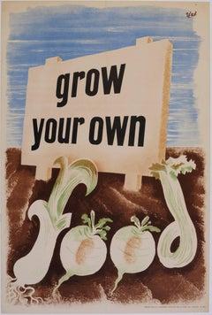 'Zero' Hans Schleger Grow Your Own Food Surreal Original Vintage Poster