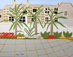 Bryan Pearce: St Ives – Piazza Courtyard 1973 - Oil on Board