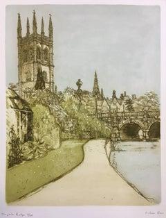 Richard Beer Magdalen College and Bridge Oxford etching c. 1980
