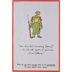"""'Fougasse' Gas Awareness/Chemical Warfare World War 2 Propaganda Poster """"Spray"""""""