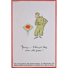 "'Fougasse' Gas Awareness/Chemical Warfare World War 2 Propaganda Poster ""Funny"""