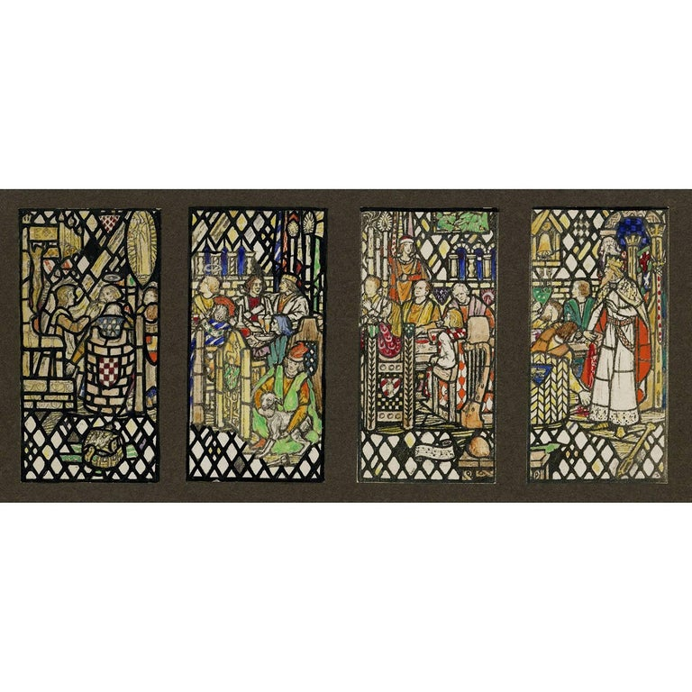 stained glass window ideas religious florence and walter camm landscape art four arthurian stained glass window designs for mercersburg academy