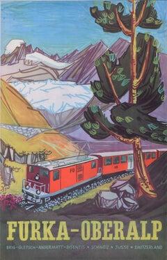 Hugo Schol Furka Oberalp Bahn Train original vintage poster Switzerland skiing