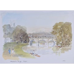 Hugh Casson Magdalen College and Bridge Oxford limited edition lithograph print