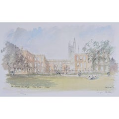 Hugh Casson Garden Quad, New College, Oxford limited edition lithograph print