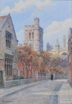 Alfred Robert Quinton The Bell Tower New College Oxford watercolour
