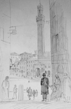 Christopher Hughes: View of Siena, Italy - 1930s drawing