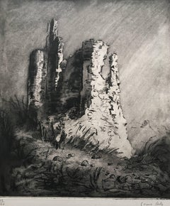 Louise Ibels: Castle Ruins - Etching and Aquatint