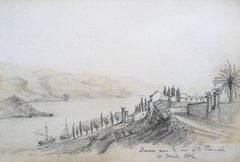 Oscar Andreae: La Corniche Monaco drawing April 1862