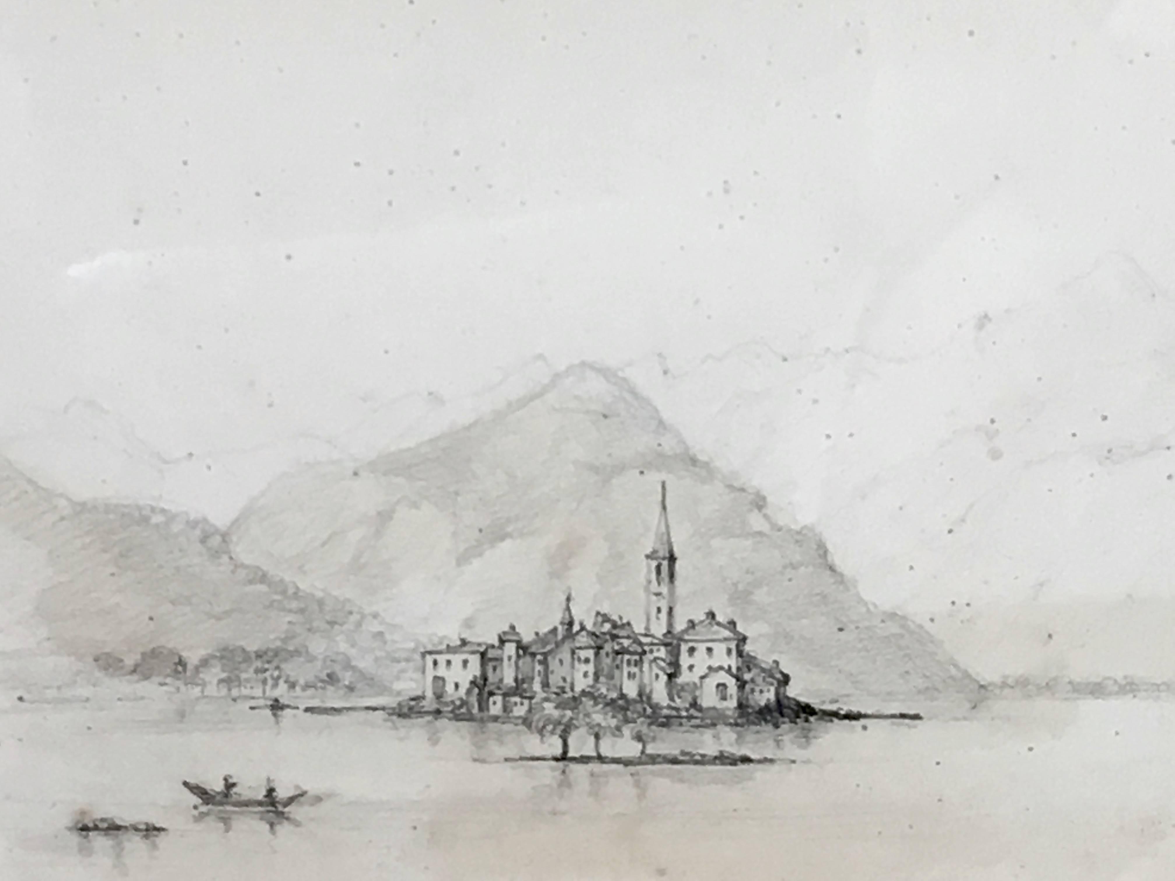 Oscar Andreae: Isola Pescatori Lago Maggiore Italy drawing 1862
