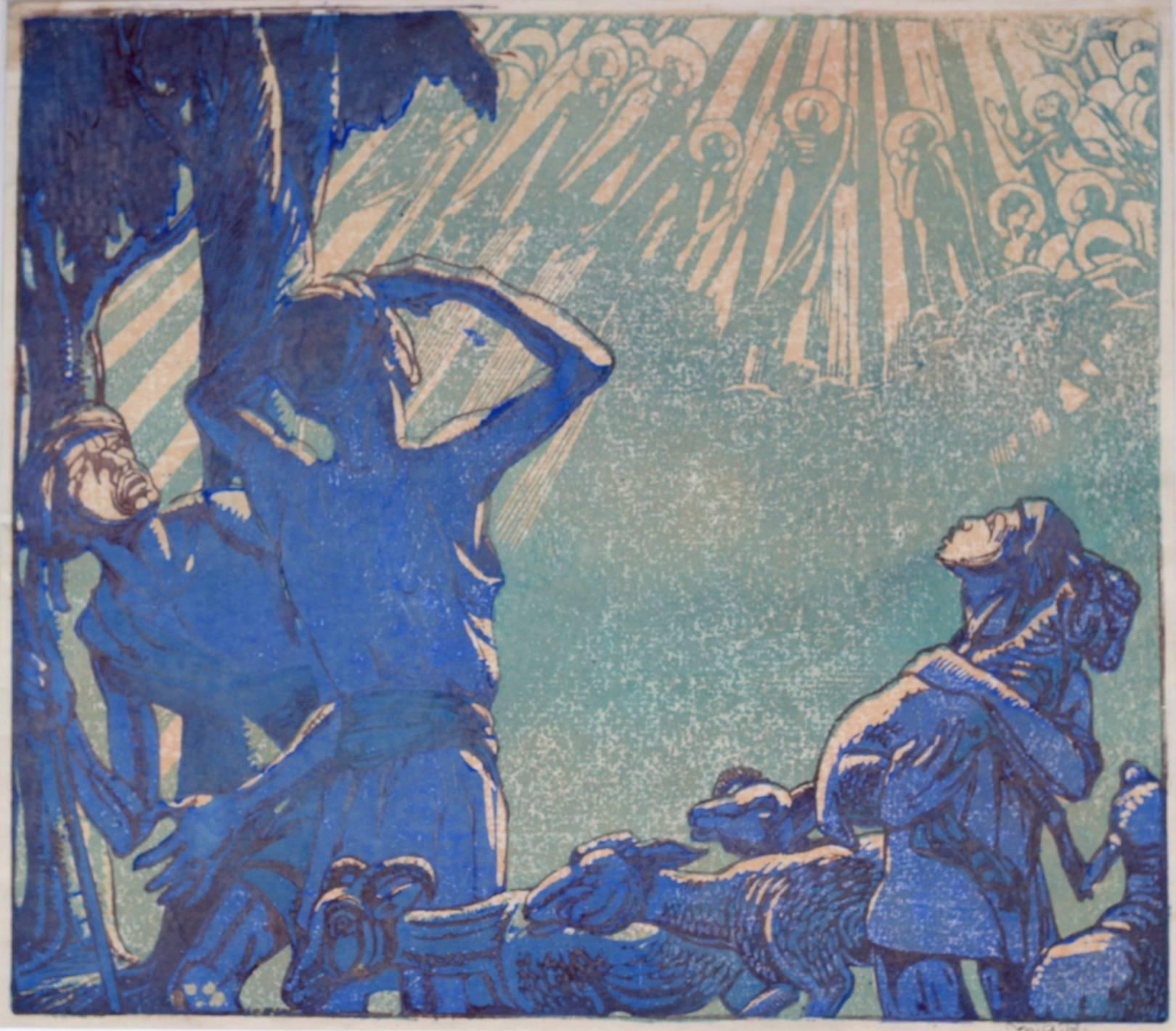 Mabel A. Royds The Shepherds Woodblock print c.1920