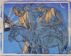 Mabel A. Royds The Flight in Egypt Woodblock print c. 1920
