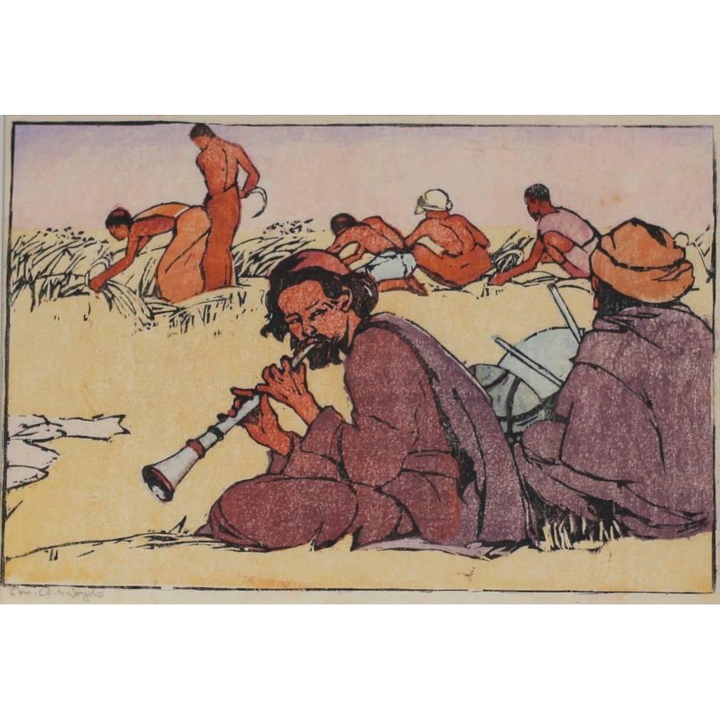 Mabel A. Royds The Lamas Harvest Woodblock print c.1920