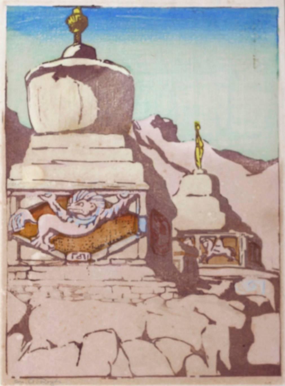 Mabel A. Royds Chortens Ladakh Woodblock print c1920 Indian Buddhist Monuments