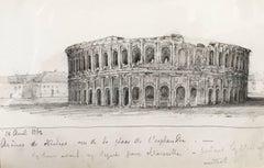 Oscar Andreae: L'Arène de Nîmes drawing 1862