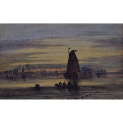 Shipping on the River at Sunset: Joseph Murray Ince - 1856 watercolour