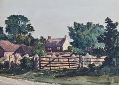 Claude Muncaster Landscape with Harvest Field and Cottage 1938 watercolour