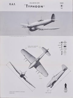 1943 Royal Air Force Hawker Typhoon aeroplane recognition poster pub. US Navy