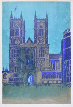 Robert Tavener Westminster Abbey London Lithograph Modern British Art