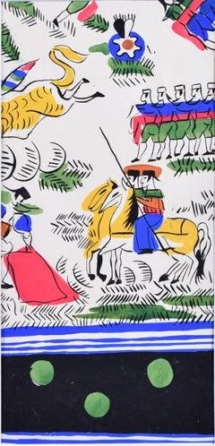 Robert Bonfils Bianchini Ferier 1920 art deco scarf design Bull Fighting: green