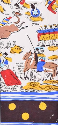 Robert Bonfils Bianchini Ferier 1920 art deco scarf design Bull Fighting: brown