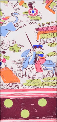 Robert Bonfils Bianchini Ferier 1920 art deco scarf design Bull Fighting: pink